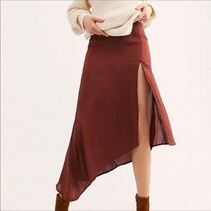 Free People Lola satin midi skirt